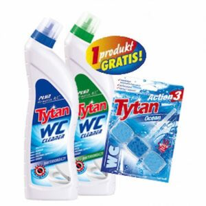 Płyn do WC Tytan zielony 700g + niebieski 700g + Kostka do WC Action 3 morska GRATIS