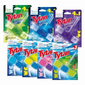 Kostki toaletowe Tytan 45g 7szt. ocean, forest, lemon, flower, Blue Water, Grean Water, Violet